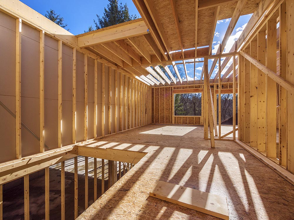 Wooden House Frame Construction Site
